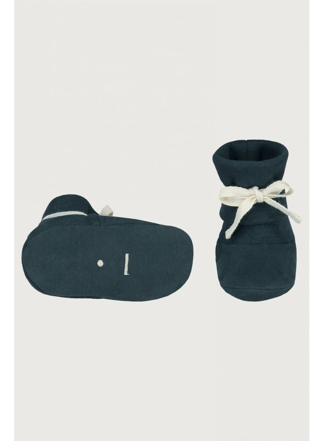 Gray Label - Baby Ribbed Booties - Blue Grey