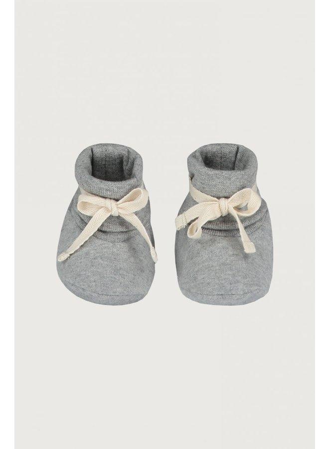 Baby Ribbed Booties - Grey Melange