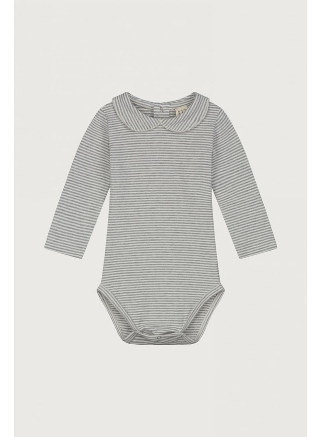 Baby Collar Onesie - Grey Melange / Cream