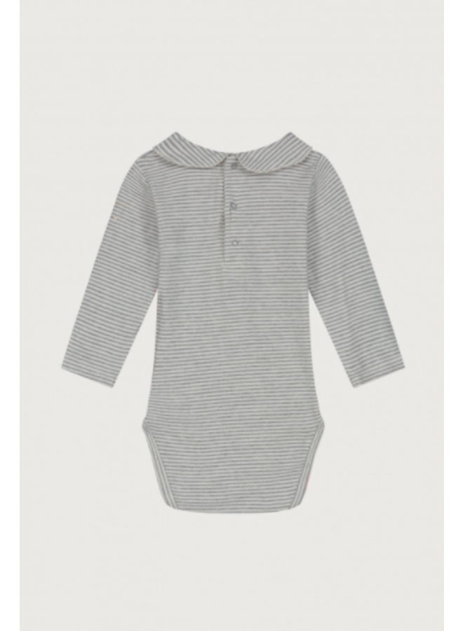 Gray Label - Baby Collar Onesie - Grey Melange / Cream