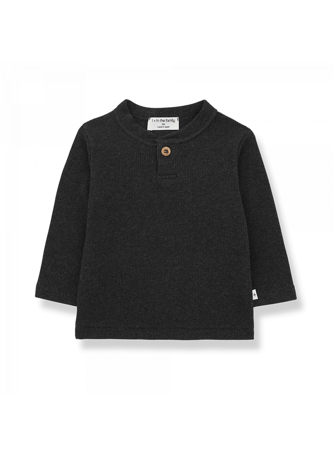 1+ in the family - Plain Rib Jersey Elmo - Charcoal