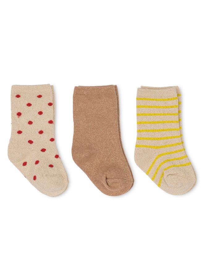 3-pack Lace Lurex Socks - Macaroon/Golden Haze/Red Dot