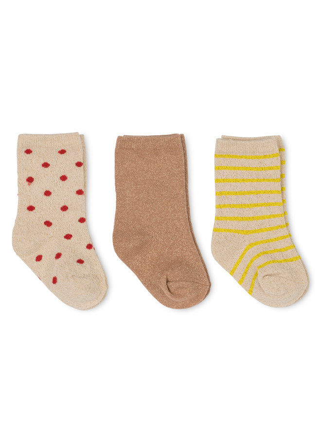 Konges Slojd - 3-pack Lace Lurex Socks - Blazing/Macaroon/Red Dot