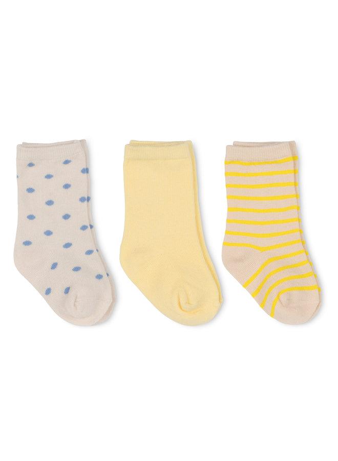 Konges Slojd - 3-pack Rib Socks - Golden Haze/Stripe/Dot