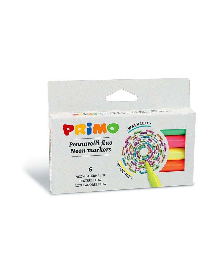 Primo - 6 Viltstiften Fluoriscerend ø2mm In Doos