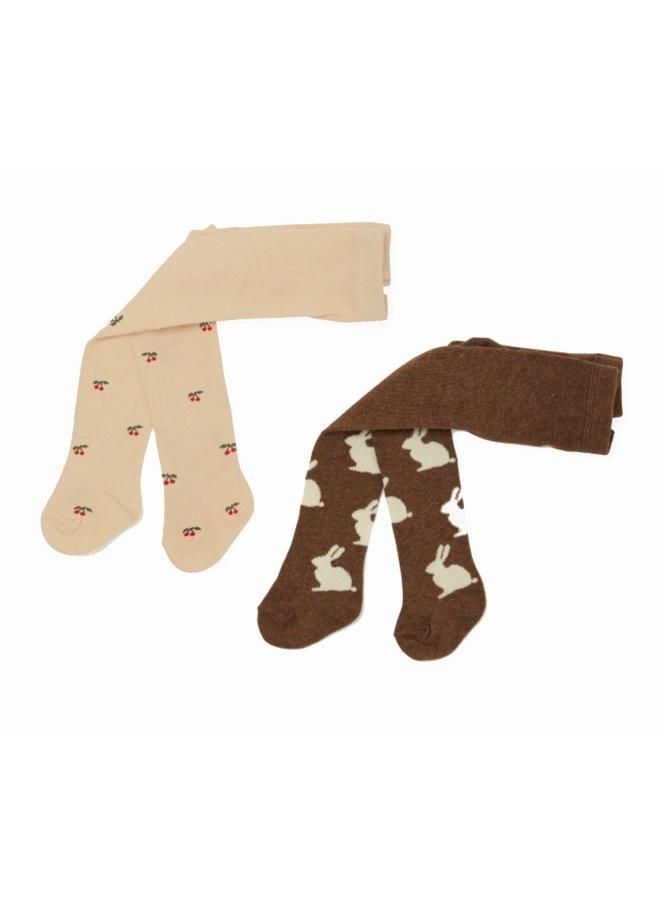 2 x Jacquard Stocking - Bunny/Cherry