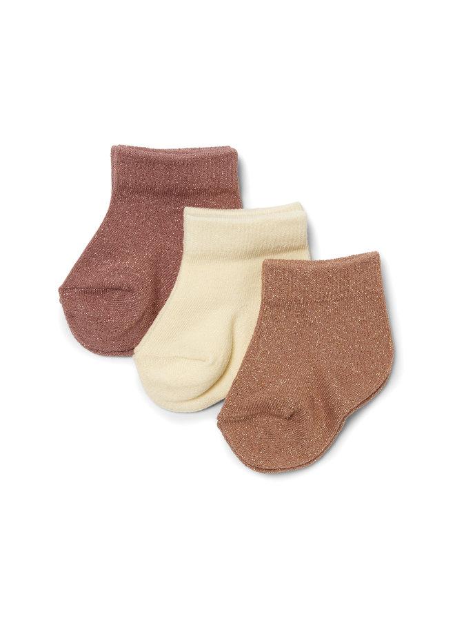 3 Pack Lurex Socks - Apple Butter