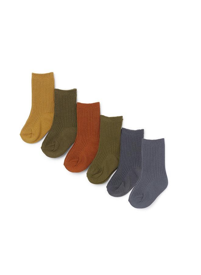 6 Pack Rib Socks - Butterscoth