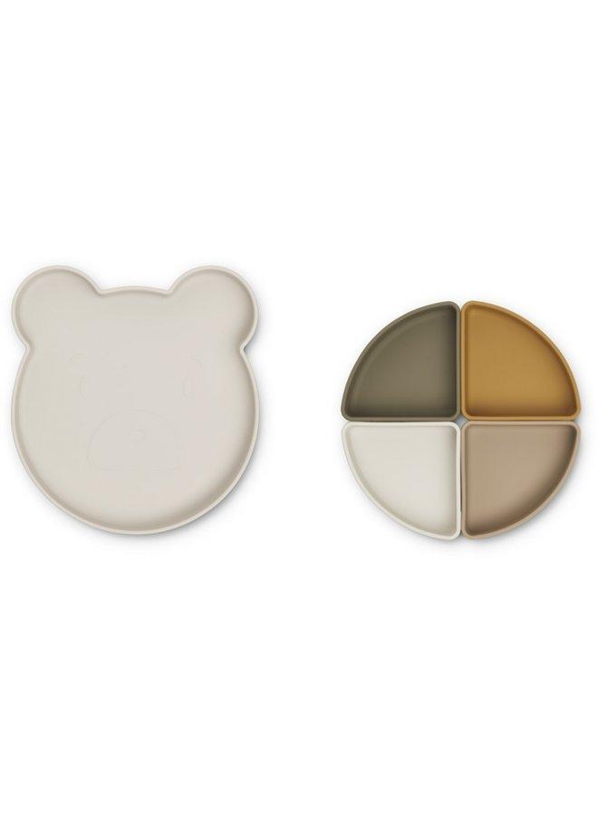 Liewood - Arne Divider Plate - Mr Bear Sandy Multi Mix