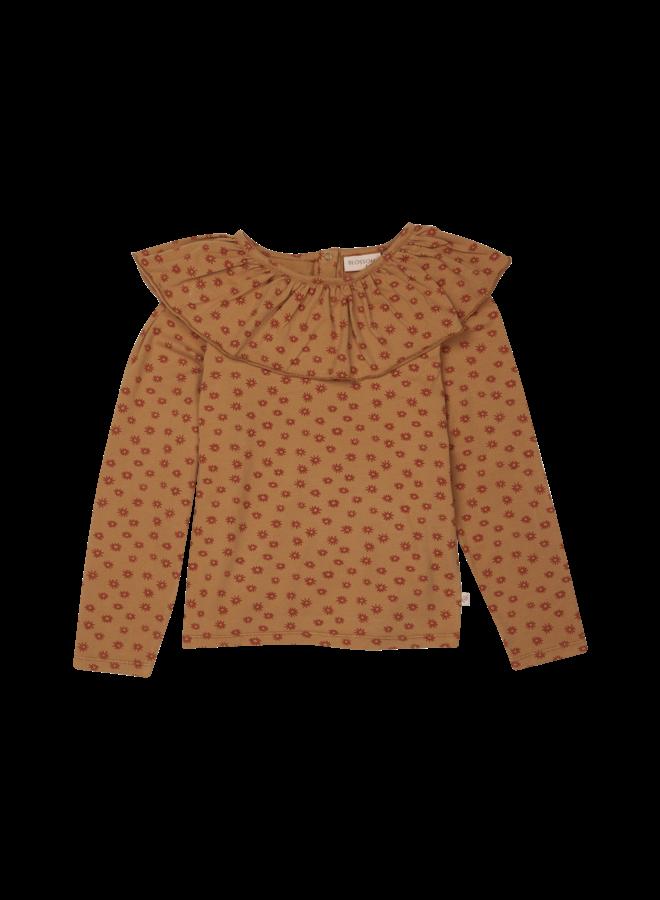 Long Sleeve Shirt With Volan Collar - Winter Flower