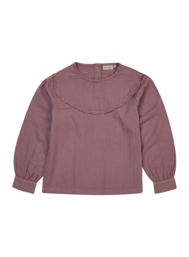 Blouse With Lace - Dusty Violet
