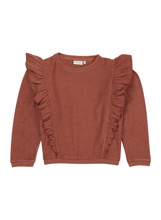 Blossom Kids - Volant Sweater - Deep Coral