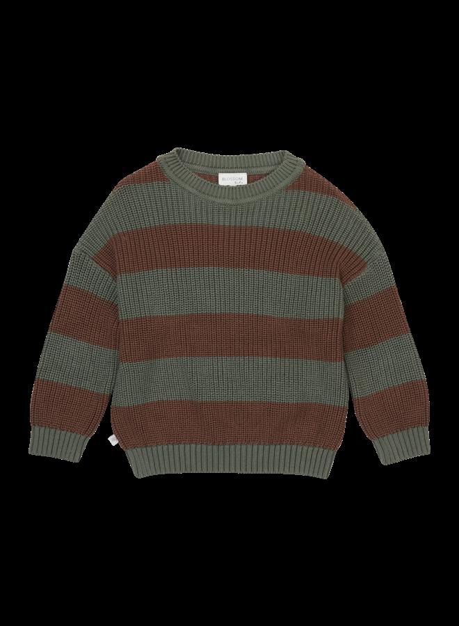Blossom kids - Knitted Jumper - Stripes Forest Green