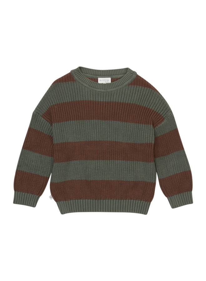 Knitted Jumper - Stripes Forest Green