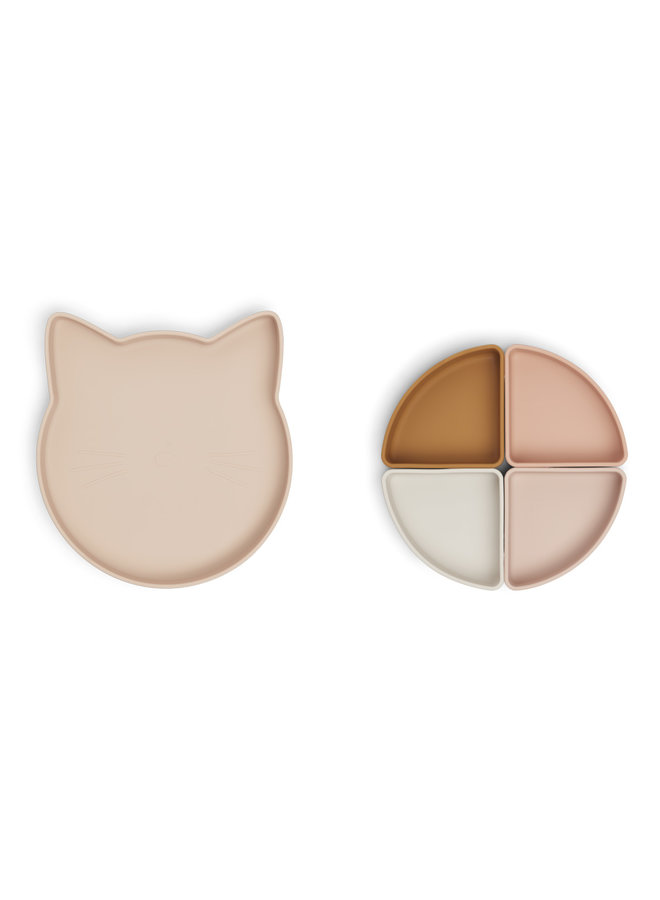 Liewood - Arne Divider Plate - Cat Rose Multi Mix