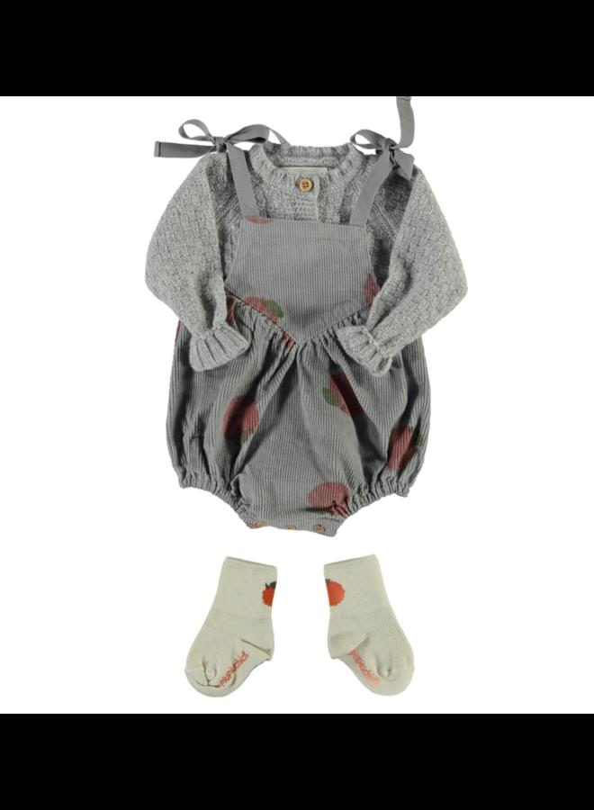 Piupiuchick - Baby Romper - Light Grey w/ Peach Allover