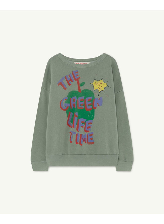 The Animals Observatory - Big Bear Kids Sweatshirt - Soft Green Apple