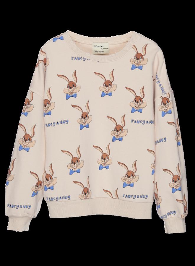 Wander & Wonder - Bunny Sweatshirt -  Ecru Bunny