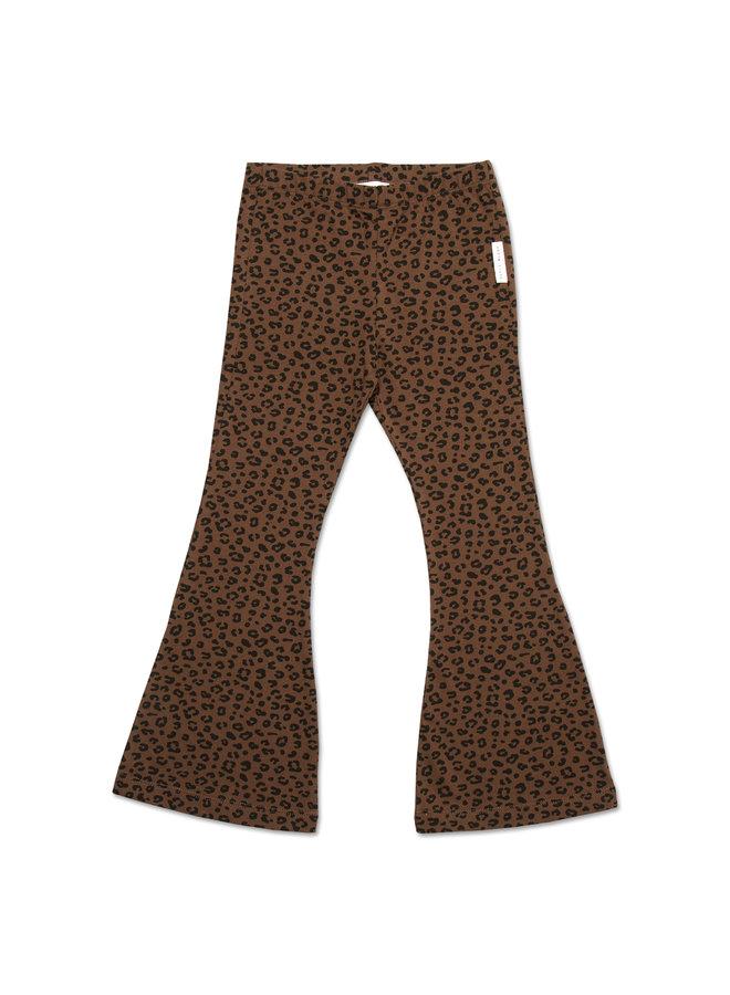 Bowie Flared Pants - Brown Leopard AOP