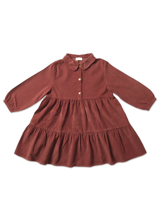 Button Collar Dress - Burnt Henna