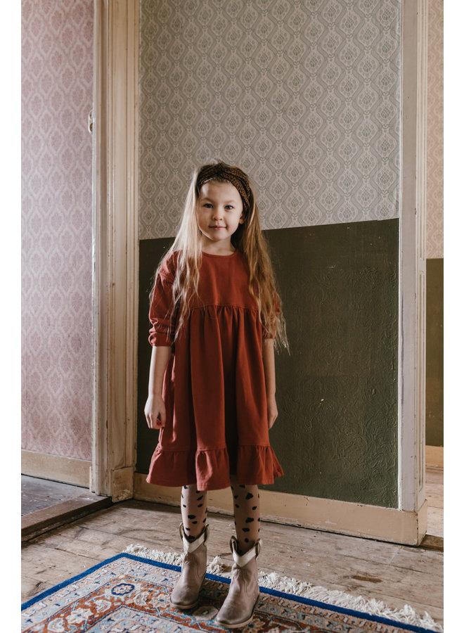 Petit Blush - Button Collar Dress - Burnt Henna