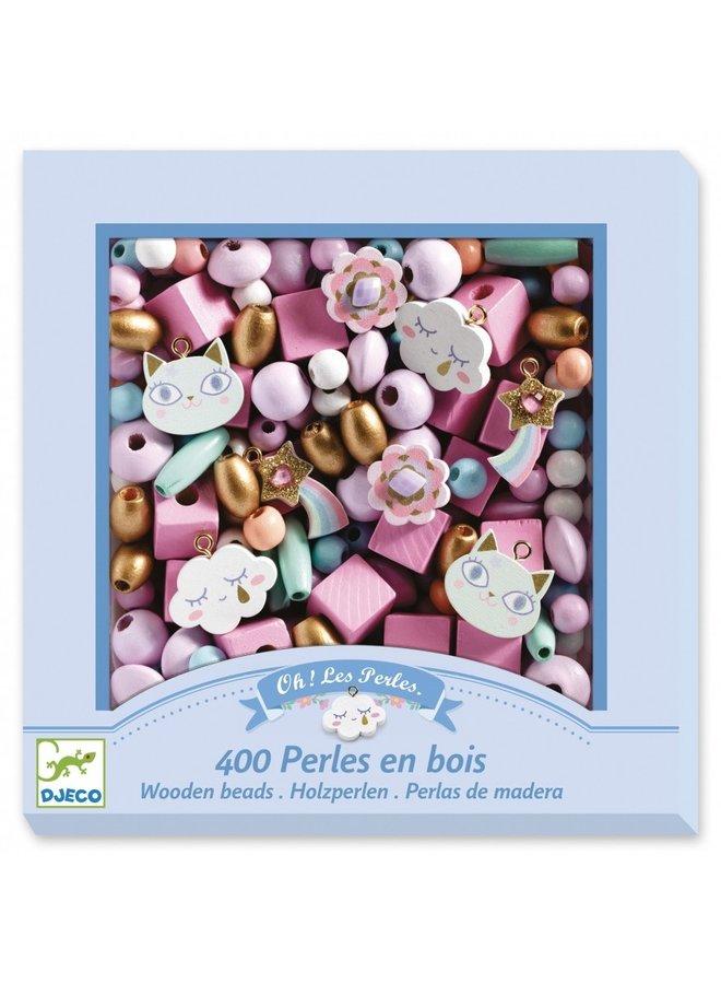 Djeco - Abundance Beads - Wooden Beads, Rainbow - DJ09823