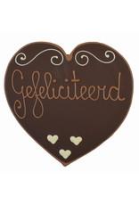 Visser Chocolade Hart - Gefeliciteerd (puur)