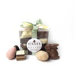 Visser Chocolade Transparant Paasdoosje - 335 gr.