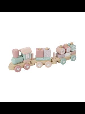Little Dutch Blokkentrein hout - adventure pink