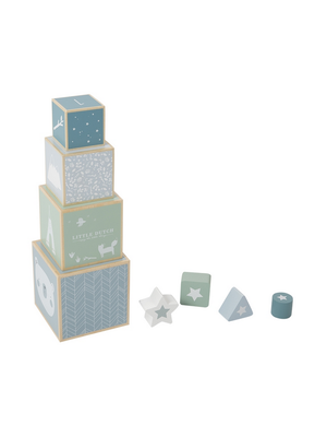 Little Dutch Stapelblokken hout - adventure blue