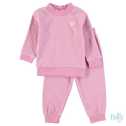Feetje Pyjama wafel - Roze melange