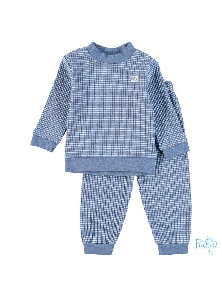 Feetje Pyjama wafel - Blue melange