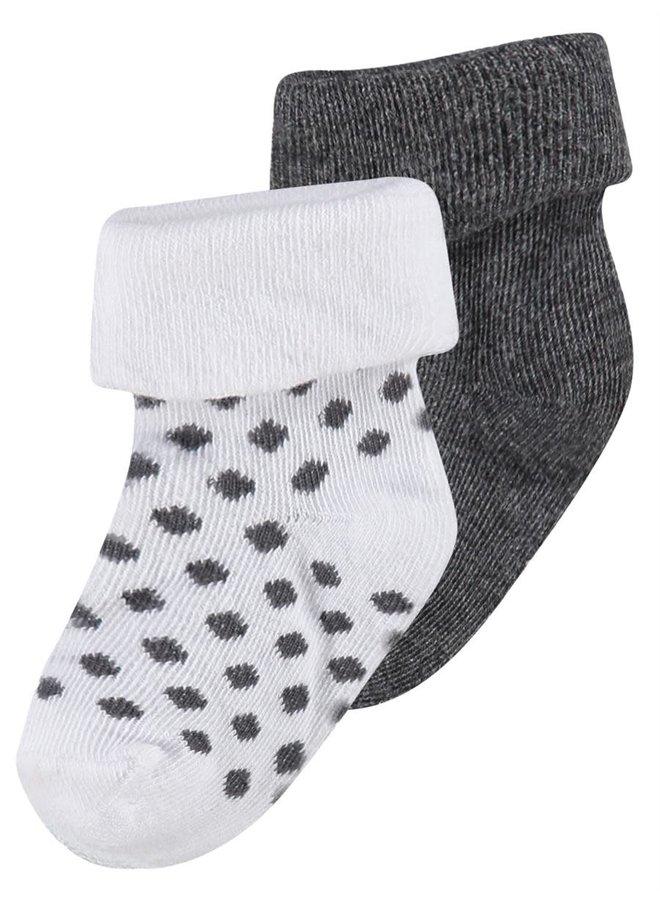 Sokken - 2pack - Dot - Dark Grey Melange