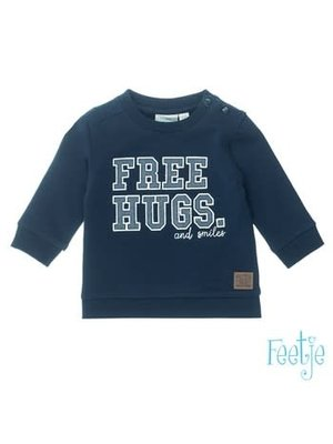 Feetje Sweater Free Hugs - Smile - Marine