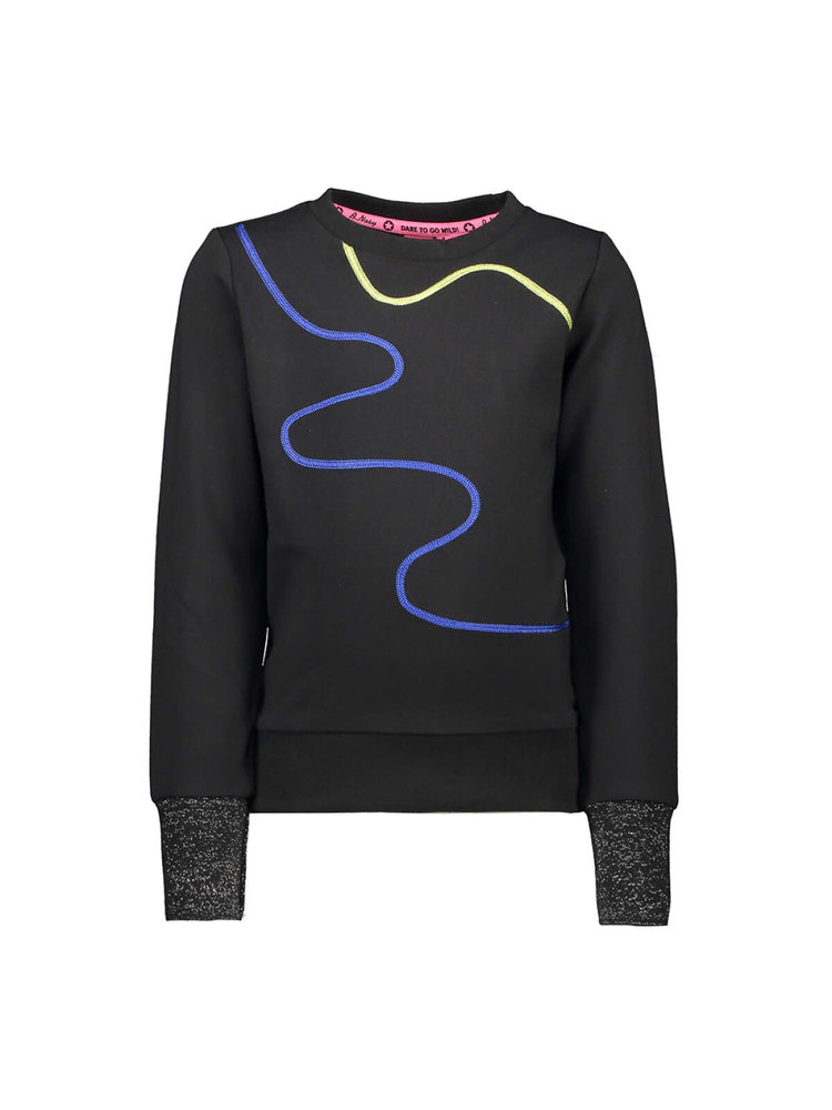 B.Nosy Girl - Sweater with rope application - Black