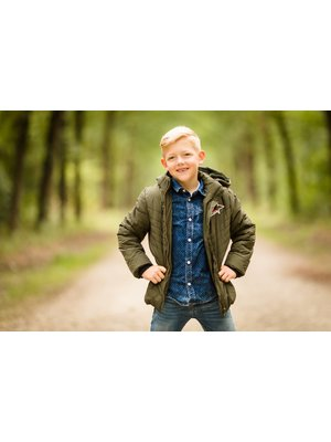 Like Flo Flo boys long quilted jacket with hood - Army
