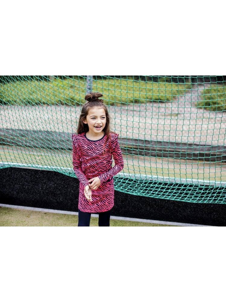 B.Nosy Girls - Zebra dress with ruffles - Pink