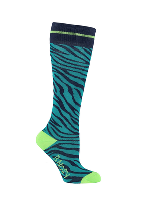 B.Nosy Girls - Socks with zebra intarsia - Lagoon zebra