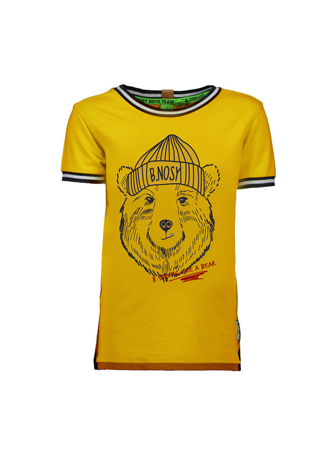 Boys - Shortsleeve shirt with bear print - Yellow