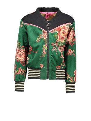 B.Nosy Girl - Bomber jacket printed velours - Flower green