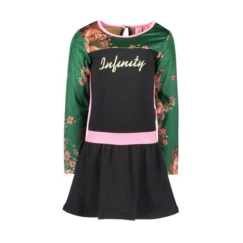 B.Nosy Girls - Dress with printed velours sleeves - Black