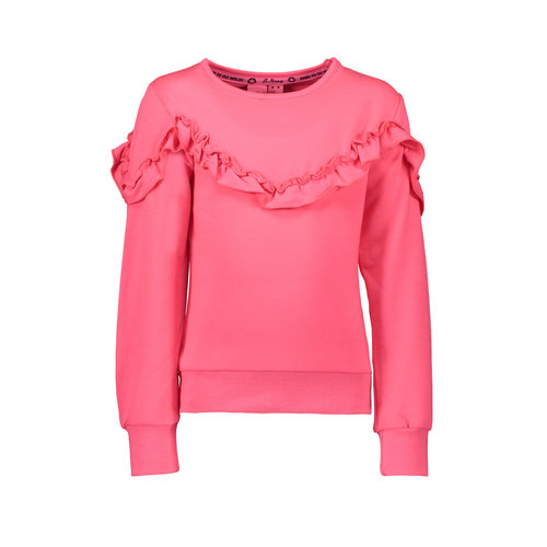 B.Nosy Girl - Sweater with ruffle detail - Shocking Pink