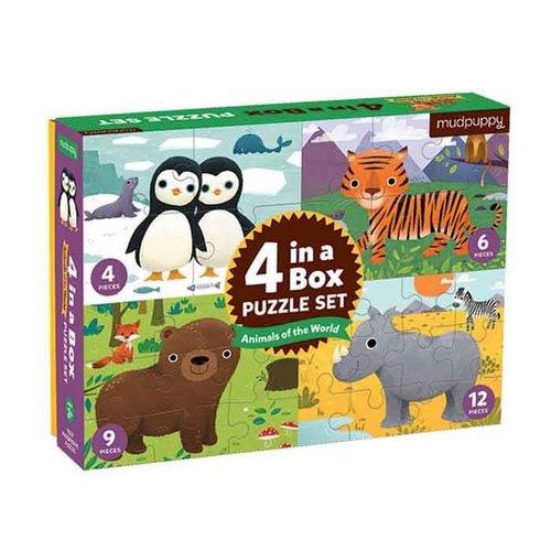 Mudpuppy 4 in 1 puzzel - Dieren van de wereld