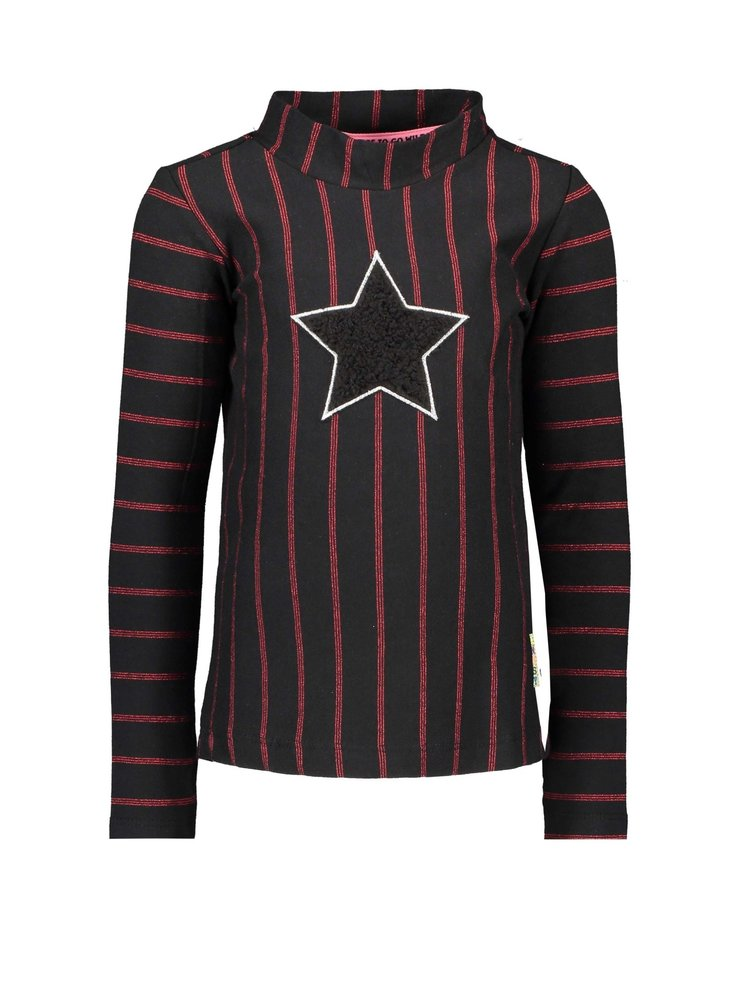 B.Nosy Girls - Yd stripe shirt with collar, star black fur - Black / Red stripe