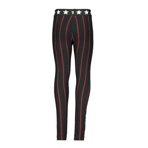 B.Nosy Girls - Stripe legging with star elastic - Black / Red Stripe