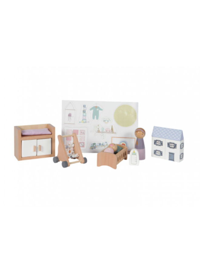 Poppenhuis Speelset - Babykamer 11-delig