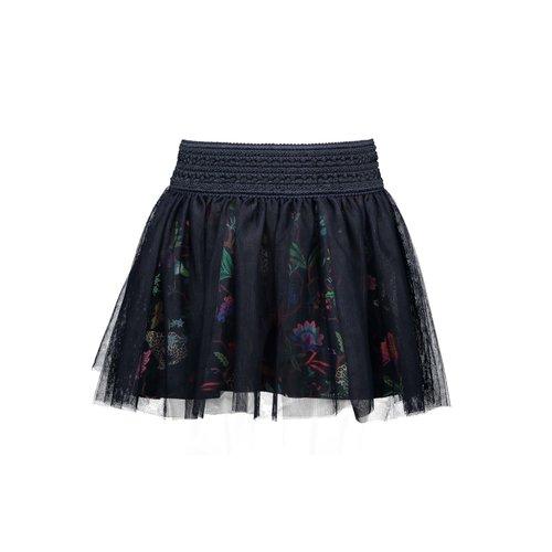 B.Nosy Girls mesh plissé skirt with jungle aop lining