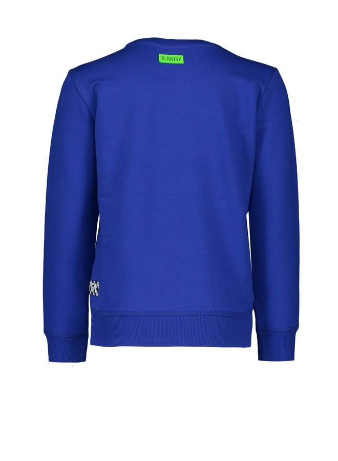 Boys fluo crew neck sweater with logo artwork on chest