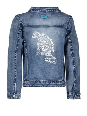 B.Nosy Girls denim jacket with zipper and ruffle on front panel