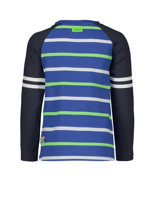Boys raglan shirt with contrast sleeves, uni front panel and YDS back panel